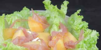 Salade melon, feta, jambon