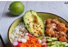 Poke Bowl au saumon mariné soja, miel, sésame